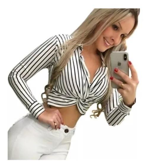 Cropped Top Blazer Listrado Nó Amarrar Feminino Blogueira