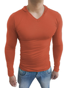 Camisa Blusa Masculina Slim Fit Capuz Gola V Manga Longa