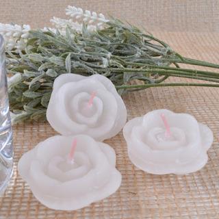 Caixa 10 Unidades Vela Flutuante Flor Branca Para Eventos