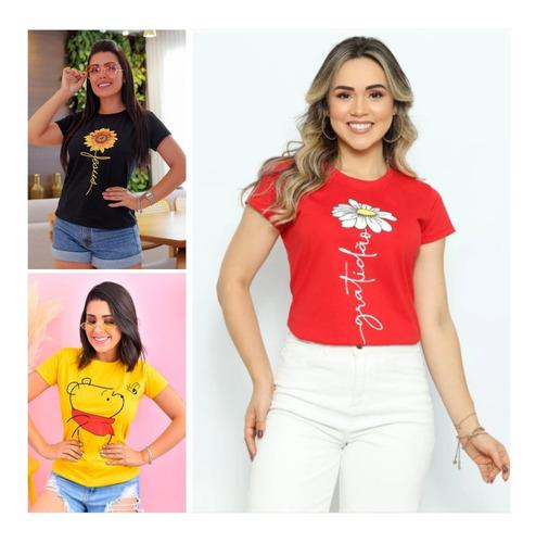 Imagem 1 de 10 de Blusas T Shirt Femininas 100% Algodão 37 Reais Cada