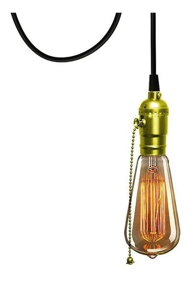 Pendente Dourado 3m C/ Interruptor + Lampada St64 + Tomada