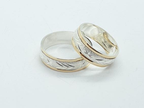 Anillos Argollas Compromiso Matrimonio Plata 925 Con Oro 18k