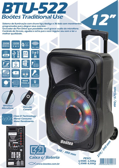 Caixa Bootes Btu-522 Bateria Bluetooth Radio Usb Mic-s/fio