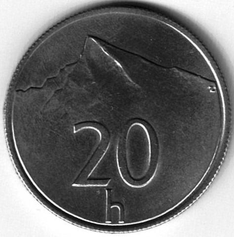 Moneda De Eslovaquia 20 Halierov 1993 Muy Buena