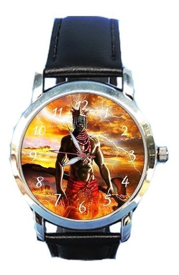 Relógio Unissex Xangô Orixá Espírita Espiritismo Couropreto