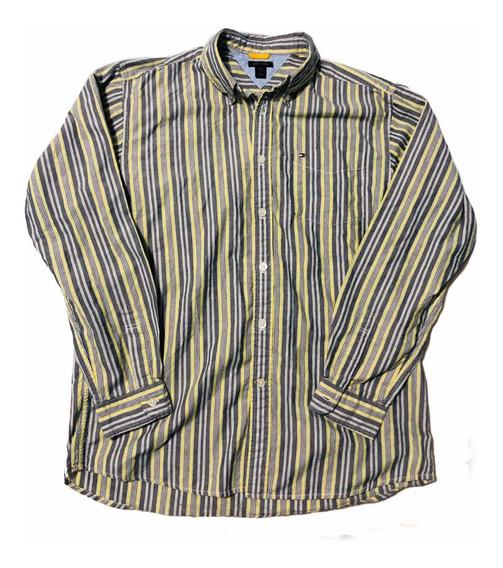 Camisa Casual Tommy Hilfigler Talla Xl Corte Slim Manga Larg