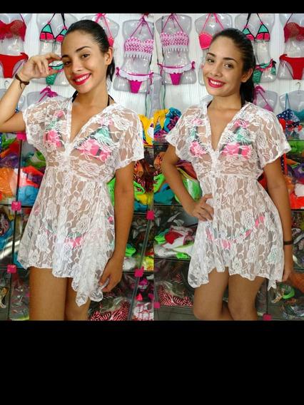 Saida De Praia Renda Kit Com 3