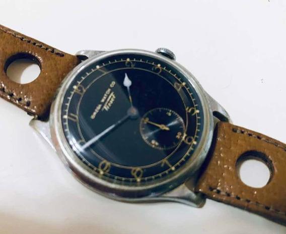 Relógio Ômega Tissot Gigante Militar Guerra Black 1930 Antig
