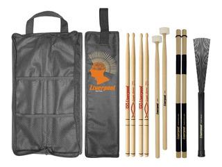 Kit Bag Com01 + Set Baquetas Gospel + Vassourinha Liverpool