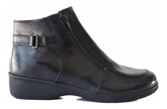 Bota Cuero Briganti Zapato Mujer Botita Goma Taco Mcbo24929