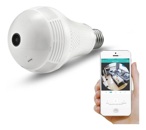 Imagen 1 de 9 de Lampara Espia Led Camara Hd 360° Sensor Alarma Grabador 64 G