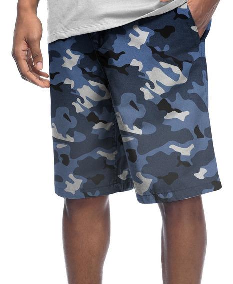 Bermuda Shorts Estampado Poliéster Camo Camuflado Militar #10