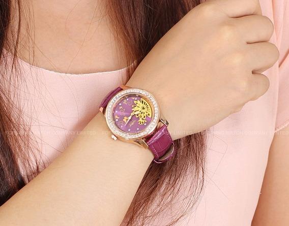 Relógios Luxo Winner Feminino Lilás Mecânico Envio Grátis