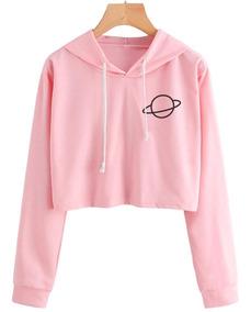 Blusa Moletom Feminino Cropped Rosa Planeta Estilo Tumblr