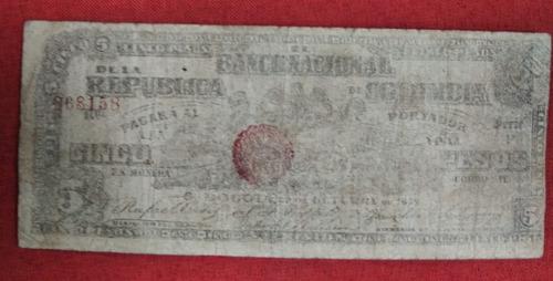 Imagen 1 de 2 de Billete Colombia 5 Pesos 1899, Banco Nacional