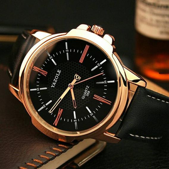 Relógio Masculino Original Luxo Esportivo Yazole Couro