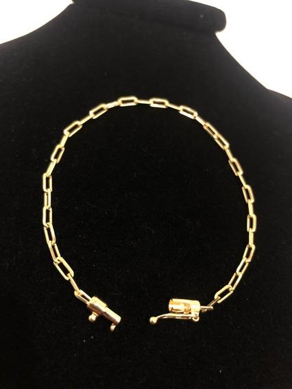 Corrente Pulseira Cartier 21,5cm 3 Mm Banhado A Ouro 18k