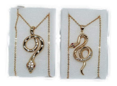 Imagen 1 de 3 de Collar De Serpiente 1 Pz Zirconias  Oro Laminado A Elegir 1