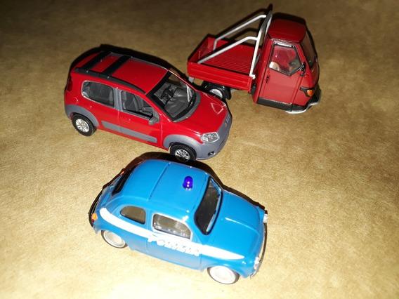 3 Miniaturas: Fiat 500 Policia + Uno Way + Piaggio Ape 50