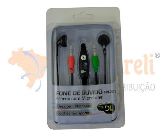 Fone De Ouvido Stéreo Com Microfone Preto - Dl Fn301