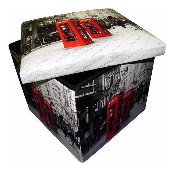 Puff Bau Porta Treco Com Assento Vintage Londres Dobravel