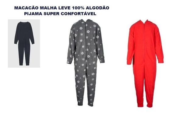 Macacão Pijama Malha Algodão Feminino Masculino Adulto