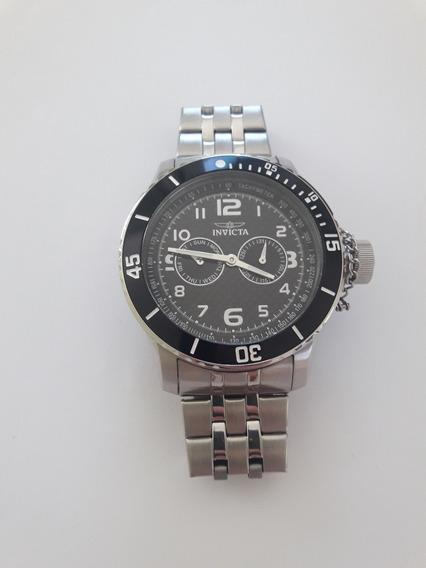 Relógio Invicta Masculino Corrente Prata E Fundo Preto