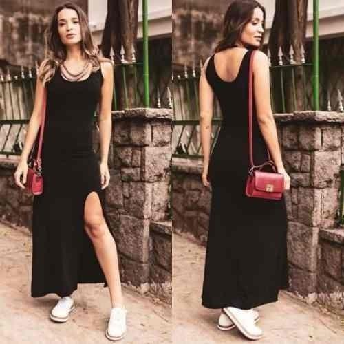 Vestido Regata Malha Longo Preto Básico Fenda Frontal Femini