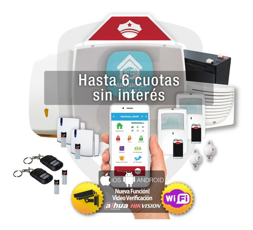 Kit Alarma Marshall 3 Wifi Inalambrica Domiciliaria 6 Cuotas