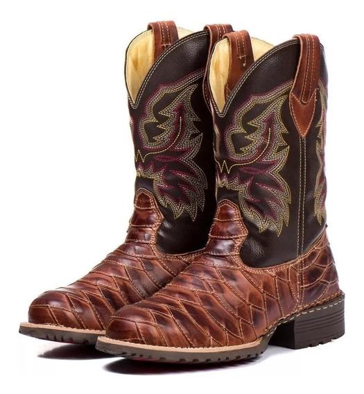 Bota Texana Escamada Masculina Bico Redondo 100% Couro