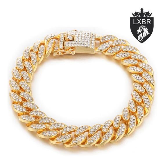 Pulseira 18cm Dourada 15mm Cravejada Zirconia Ouro 18k Hip Hop Ostentação Mc Funk Corrente Neymar Lxbr Bl15a