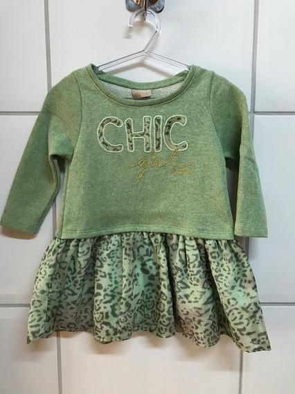 Vestido Milon Infantil Em Moletinho Verde Tam. 1