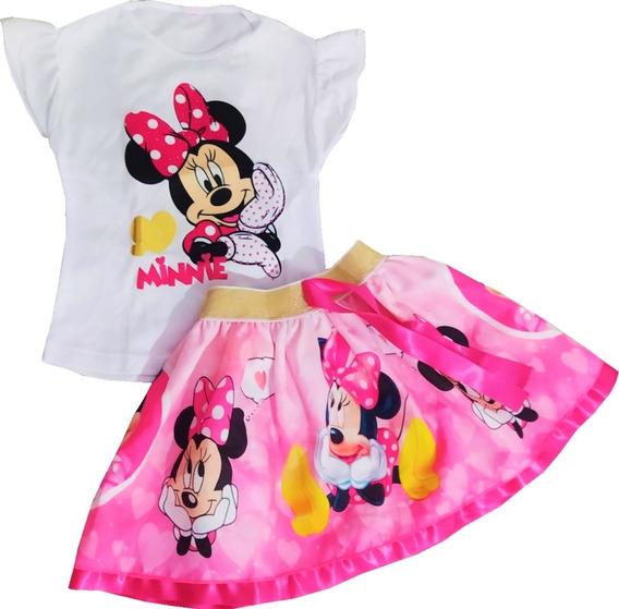 Vestido Tutu Para Niña De Minnie Dos Piezas