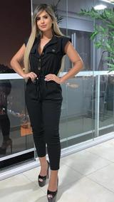 Macacão Capri Decotado Botões Bengaline Top Roupas Femininas