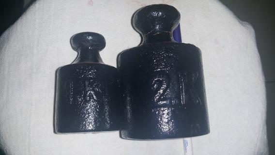 Lote C/ 2 Pesos 1kg/2kg Ferro P/ Balanças Antigas Decoração