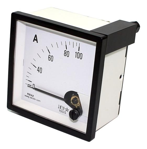 Amperimetro Analogico 72x72mm Medição Direta 0 A 100a