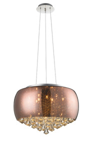 Lustre Luminaria Pendente Cromado Cristal Vidro Fumê 50cm