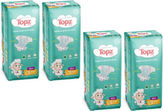 Kit Fralda Topz Baby Descartável Mega Pacotão Tam G 152 Unid