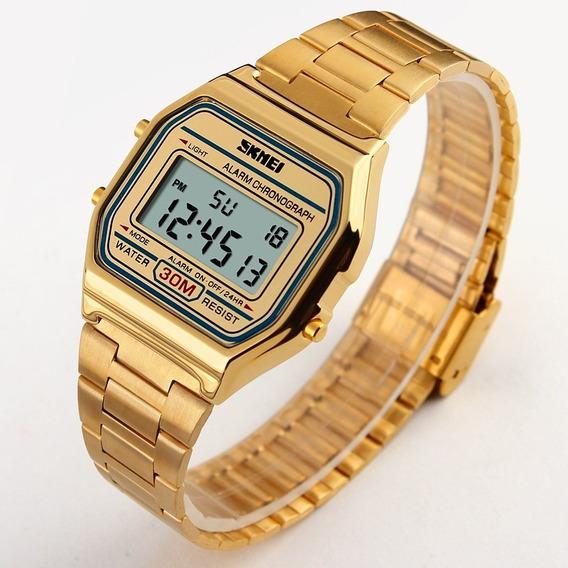 Relógio Feminino Original Skmei Aço Digital Retrô
