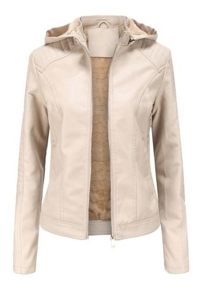 Jaqueta Branca Feminina De Couro Ecológico Capuz Moletom