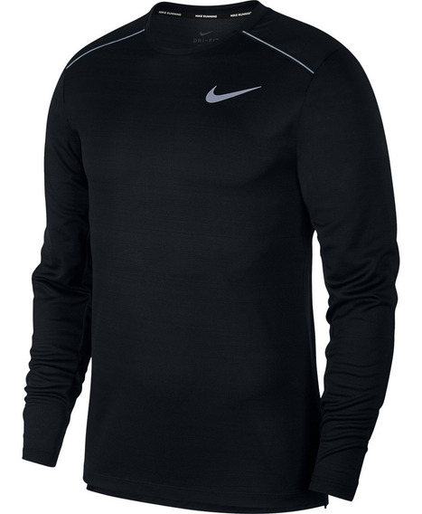 Camisa Nike Manga Longa Masculina Dri Fit Preta Corrida