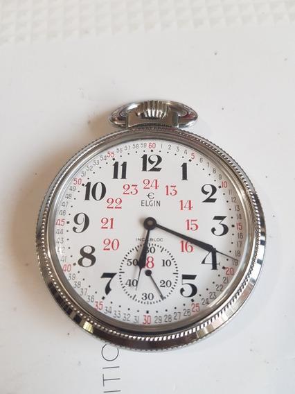 Elgin Reloj De Bolsillo Ferrocarrilero Servicio Reciente
