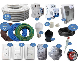 Kit Instalación Domiciliaria Materiales Eléctricos Cables