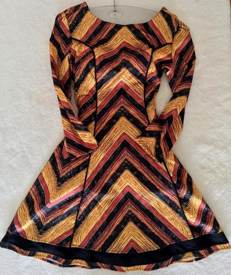 Vestido Gode Geometrico Mostarda Com Barrado Tam 38