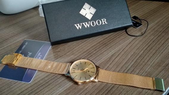 Relógio Unissex Slim Ultra Fino Wwoor Original (novo)