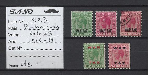 Lote923 Bahamas Lote De 5 Estampillas Año 1918-19