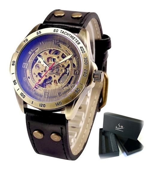 Relógio Automático Couro Mecânico Shenhua Original De Corda