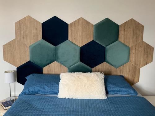 Decoração Módulos Hexagonal - Tecido Espuma Madeira 16 Peçs