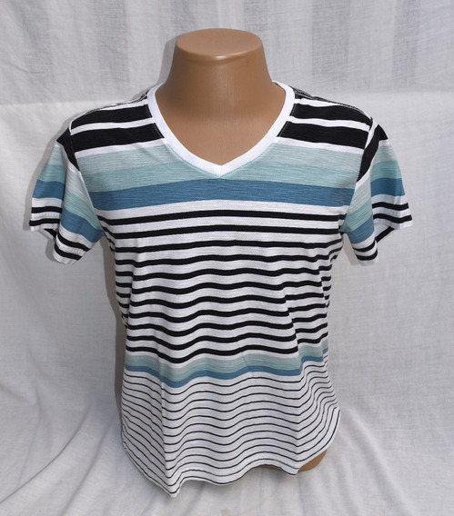 Camiseta Limits Laundry Manga Curta Gola V Listada Tamanho P