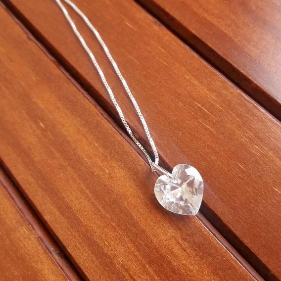 Promoção Cordão Prata Pura Feminino De Ponto De Luz Coração